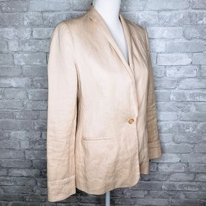 Vince One Button Linen Blazer w/ Pockets - 4